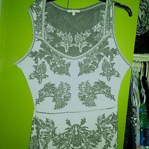 RARE ZAC POSEN grey and white jacquard print dress